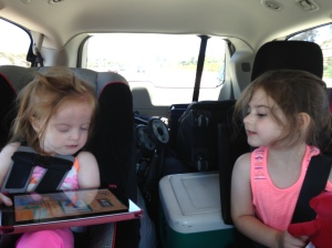 Big sis loved helping little sis with her iPad!