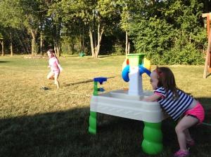 Sprinkler & water table fun